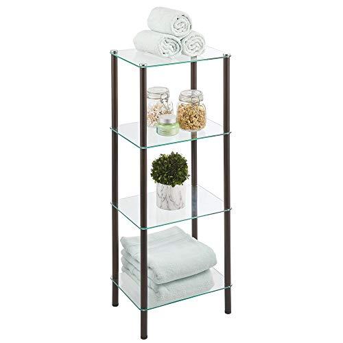 mDesign Estante de pie con 4 baldas – Estante de metal y cristal de diseño moderno – Compacta estantería decorativa para baño, despacho, dormitorio o salón – color bronce y transparente
