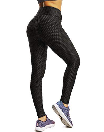 Price comparison product image Women's Butt Lift Workout Leggings High Waist Yoga Pants Textured Running Sexy Tights Tummy Control Slimming Black