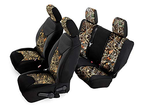 Crevelle Custom Fits 2011-2018 Jeep Wrangler Unlimited 4dr JK Car SUV Wagon Front & Rear Real Black Camo Seat Covers Maple Forest Tree Leaf Pattern Camouflage Tailor Made Hunter Style Seat Cover