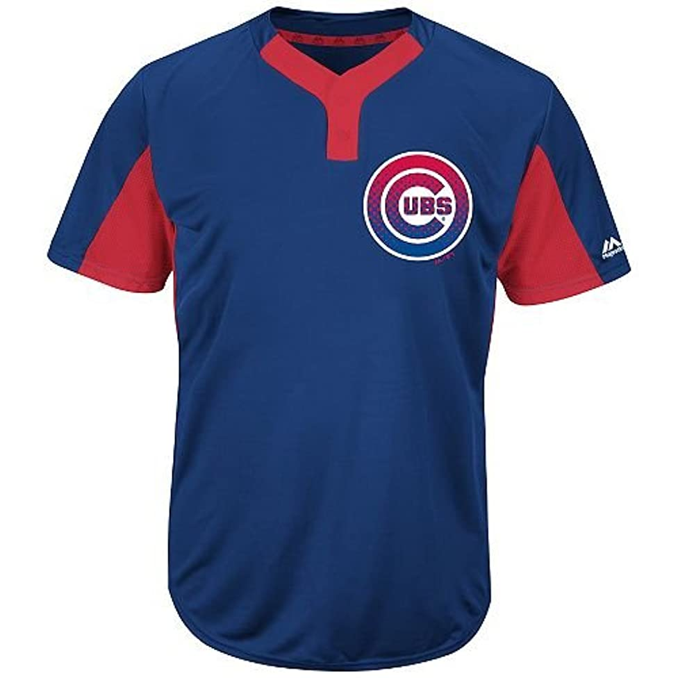 Majestic Royal/Red 2-Button Cool-Base Chicago Cubs Blank or Custom Back (Name/#) MLB Officially Licensed Baseball Placket Jersey