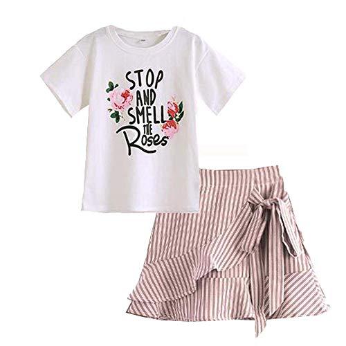 Gyratedream Mädchen Sommerkleidung Set 3-12 Jahre Kinder Blumendruck T-Shirt Kurzarmshirts + Gestreifte Mini Röcke Bekleidungssets 2Pcs Outfits