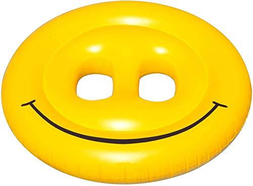xyl Boya Sonriente para Piscina, sillón reclinable Flotante con emoticonos, Anillo de natación Doble