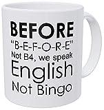 N\A rofesor de inglés, gramática, no Bingo, Antes Divertida Taza de café inspiradora y motivadora