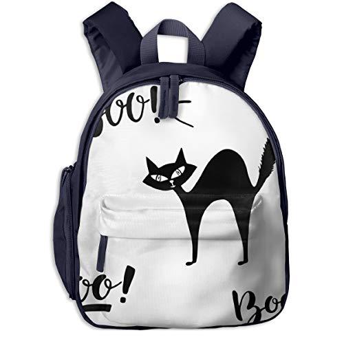 Kinderrucksack Kleinkind Jungen Mädchen Kindergartentasche Boo Spooky Schriftzug Backpack Schultasche Rucksack