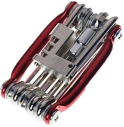 JIEJIE Outils vélo vélo Kit de réparation 15 en 1 réparation vélo Outil Kit clé Tournevis chaîne en Acier au Carbone vélo Outil Multifonctions VTT Tool Kit QIANGQIANG (Color : 11in1 Red)