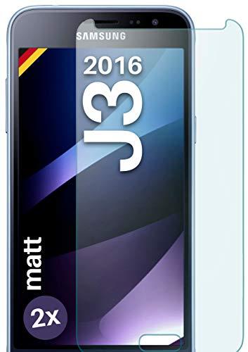 moex Panzerglas kompatibel mit Samsung Galaxy J3 (2016) - Panzerfolie Matt aus Glas, Anti Reflex Bildschirmschutz Kratzfest, Matte 9H Schutzfolie, 2X Stück