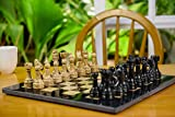 Radicaln 15 Inches Large Handmade Black and Fossil Coral Weighted Marble Full Chess Game Set Staunton and Ambassador Gift Style Marble Tournament Chess Sets -Non Wooden -Non Magnetic -Not Backgammon
