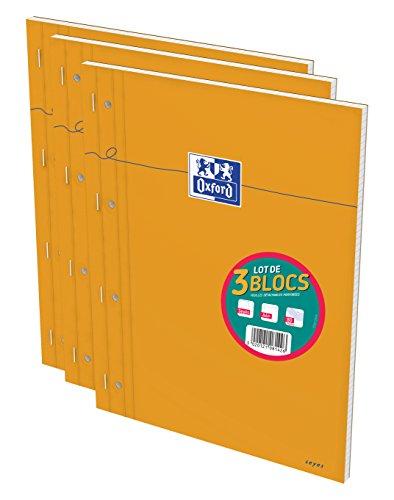 Oxford Lot de 3 Bloc-Notes A4+ (22,5 x 29,7cm) Grands Carreaux Seyès 160 Pages Perforées Couverture Orange