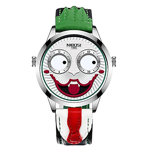 Reloj de pulsera de 42 mm para hombre, reloj de cuarzo de moda de payaso, reloj de movimiento premium, esfera de visualización de minuto/relojes de corona de ajuste para hombres (color negro de acero)