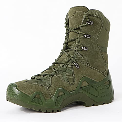 HHMacro Men's Ultralight Breathable Military Boots Outdoor Desert Tactical Booties Combat Boots Army Patrol Boot Security Police Shoes Leather,Green-US9.5/UK8.5/EU42.5