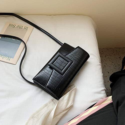 LOH Pierre Motif en Cuir Bandoulière Sacs Femmes Épaule Messenger Sac Femelle Petits Sacs À Main, Noir, 21 cm x 13 cm x 4 cm