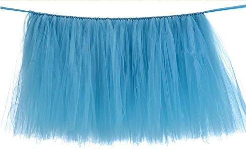 Jupe de tablette Tulle Housse en tissu de table pour couvertures de table de fête Baby Shower Party Wedding Décoration d'anniversaire Home Decor Girl, 100x80cm (1PC) , 2