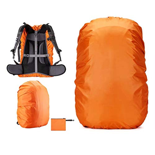 Waterproof Backpack Rain Cover (15-80L) Upgraded Triple Waterproofing with Adjustable Anti Slip Buckle Strap,Wear-Resisting and Durable,for Outdoor,Hiking,Camping,Cycling (Orange, S (15-25L))