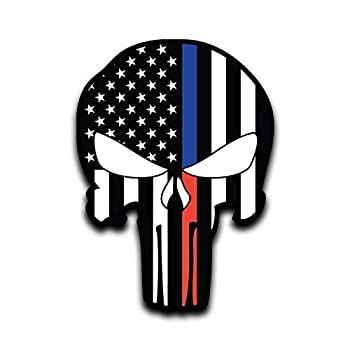 Blue Red Line Punisher Skull Flag Vinyl Decal Sticker Car Truck Van SUV Window Wall Cup Laptop - One 6 Inch Decal- MKS0658