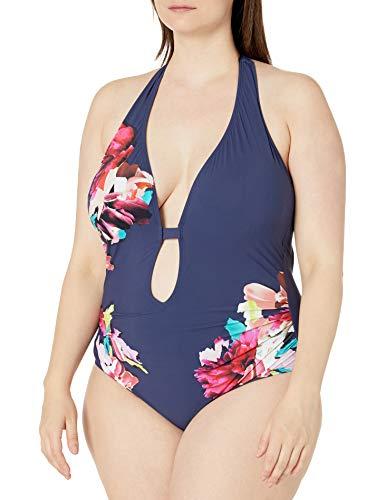 Kenneth Cole New York Women's Halter Plunge Mio One Piece Swimsuit, Multi//Dark Romance, XL