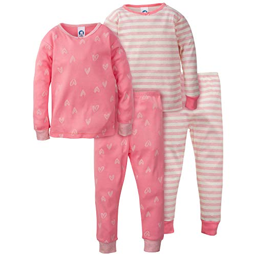 Gerber Baby Girls Organic 2 Pack Cotton Footed Unionsuit, 12 months, CORAL HEARTS