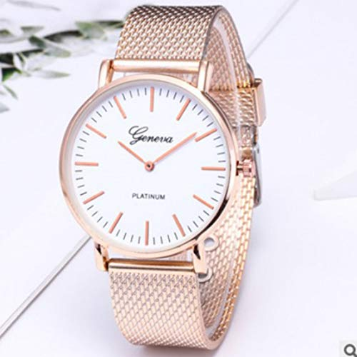 Kaemma Metal Casual Uhren Womens Men Geneva Womens Classic Quartz Edelstahl Armbanduhr Armbanduhren Goldband weiße Oberfläche
