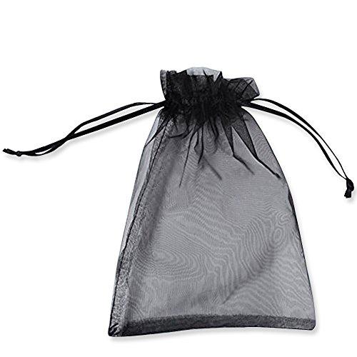PLECUPE 100 Stück Organzasäckchen Organza Beutel Tunnelzug Hochzeit Säckchen, 16 x 22cm Schmuckbeutel Drawstring Organza Bags Säckchen Beutel für Geschenke Schmuckaufbewahrung Verpacken - Schwarz