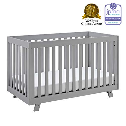 Storkcraft Beckett 3-in-1 Convertible Crib Pebble Gray, Fixed Side Crib, Solid Pine and Wood Product Construction, Converts to Toddler Bed Day Bed or Full Bed (Mattress Not Included)