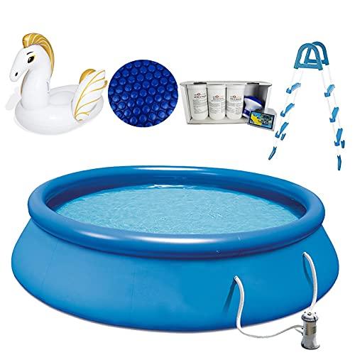 well2wellness® Quick-Up Pool Aufstellbecken Swing Ø366 x 91cm blau inkl. Filterpumpe 12 Volt Plus Pool Solarfolie Ø 3,05 m + Pegasus Schwimmtier, Poolleiter und Wasserpflege Set Clewa 5in1