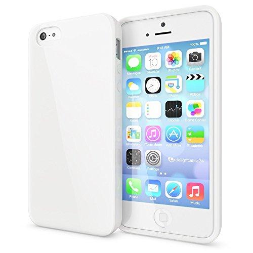 NALIA Custodia compatibile con iPhone SE 5 5S, Cover Protezione Ultra-Slim Phone Case Protettiva Morbido Cellulare in Silicone Gel, Gomma Jelly Telefono Bumper Sottile - Bianco