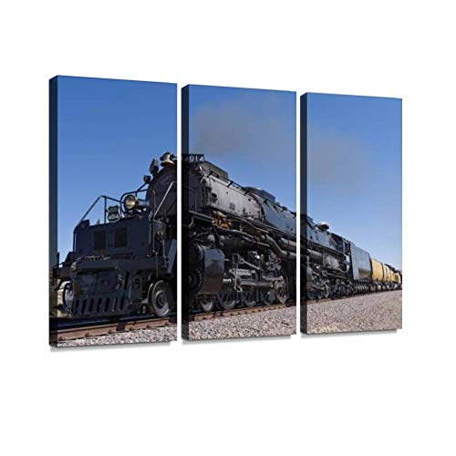 YKing1 Union Pacific Railroad Big Boy Steam Locomotive Wall Art Painting Pictures Print On Canvas Stretched & Framed Artworks Modern Hanging Posters Home Decor 3PANEL
