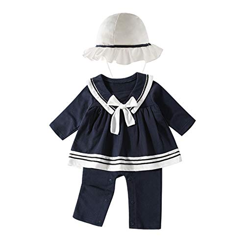 inhzoy Baby Matrosen Uniform für Mädchen Baby Langarm Jumpsuit mit Hut Säugling Mädchen Matrosenkleid Sailor Seemann Cosplay Kleidung Gr.50-80 Navy Blau 74-80