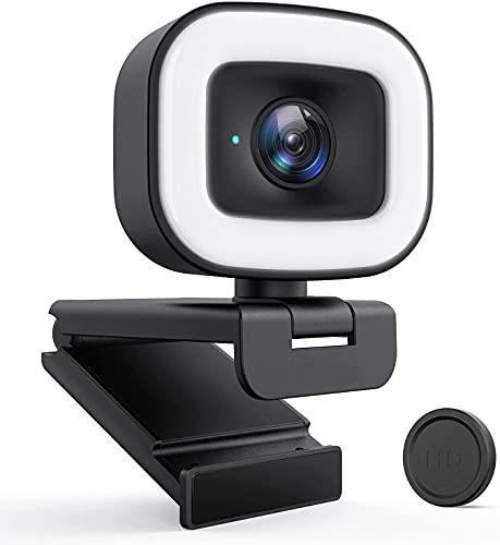 Streaming Webcam HD 1080p / 60 fps avec anneau de lumière, Webcam PC avec double microphone, USB Autofocus Caméra pour Skype, Chat Vidéo, Twitch, OBS Xsplit, Hangouts, YouTube, Facebook,