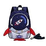 Cohete para niños Mochila Escolar Anti-perdida Mochila de Dibujos Animados Mochila Escolar para jardín de Infantes Regalo para niños-Azul_Los 21 * 10 * 21cm