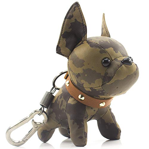 French Bulldog Leather Keychain Bag Charm,SALTY FISH Car Key Chain Gift for Women Kids