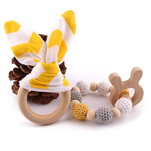 Best for baby Perles en bois Bébé teether Jouet de bébé Anneau dentition bois DIY Bracelet Bijoux Jouets sensoriels Cadeau Hochet bois
