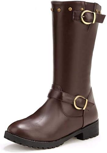 HYLFF Femmes Cuir Chevalier Boucle Boucle Boucle Les Les dames Faux Bottes Plat Martin Chaussures Bottines,marron,38EU ea2