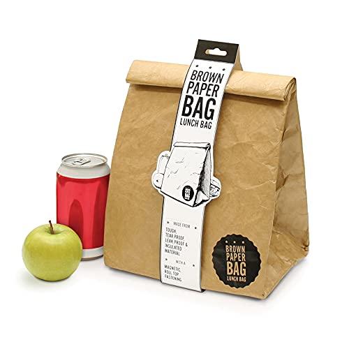 Luckies of London Braune Lunch Bag, Kühltasche mit Klettverschluss Thermische Tasche, 21x26 cm