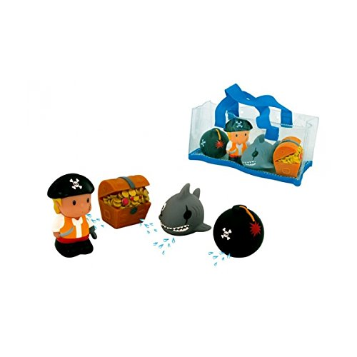 DAM bébés et première infanciajuguetes de bañodamwaterworld : Pirate Set 8 cm, 4 squirters in a Stow Bag with a Mesh Bottom, Allowing The Water to Leak Away, 4 m + Multicolore (Plus d'une)