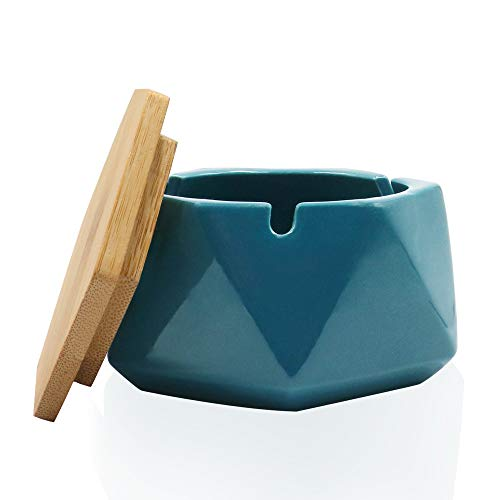 Auspicious beginning Aschenbecher Keramik für Draussen Winddicht Tischaschenbecher mit Bambus Deckel Praktisch Schön Desktop Dekor für Innen Im Freien - Blaugrün