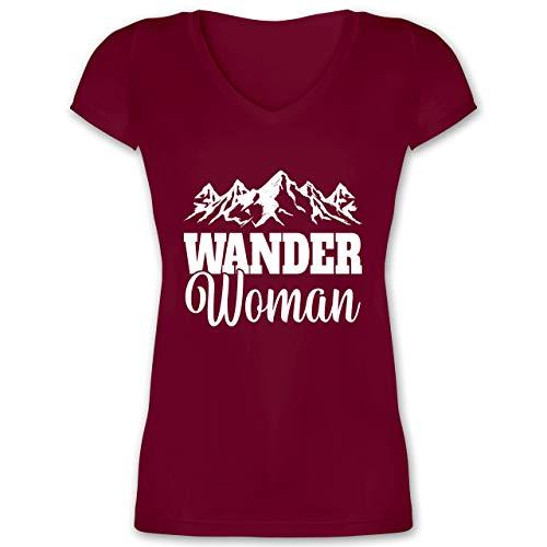 Sonstige Sportarten - Wander Woman - weiß - L - Bordeauxrot - Wander Shirts für Damen - XO1525 - Damen T-Shirt mit V-Ausschnitt