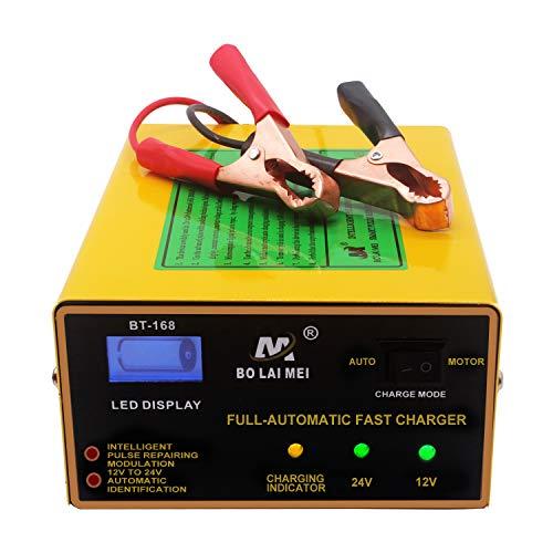 Etrogo Cargador Bateria de Coche 12V/24V 10A 200W Cargador de Batería de Plomo Rapido de Pulso con Pantalla LED a Barra