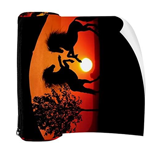 Estuche para lápices Sunset Caballos Combat Shadow Ruinas Bolsa Bolsa de Pluma con Cremallera Bolsa para Papelería Viajes Escuela Estudiante Suministros