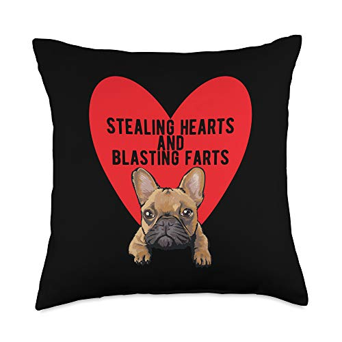 French Bulldog Blasting Farts Valentine's Gifts Stealing Hearts Blasting Farts Valentine's Day Frenchie Dog Throw Pillow, 18x18, Multicolor