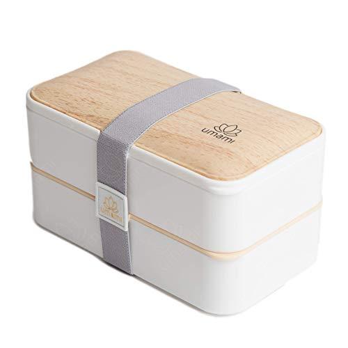 Umami® - Fiambrera blanca – Verano bambú – Incluye: 1 tarro de salsa y 3 cubiertos – Caja Bento japonés hermética 2 pisos – cero residuos – microondas y lavavajillas – Sin BPA