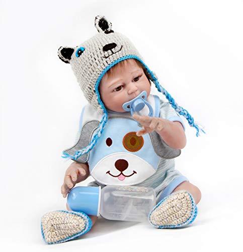 ZIYIUI Realista 50 cm 20 Pulgadas Reborn Bebé Muñecas Silicona de Cuerpo Completo Recién Nacido Hecho a Mano Reborn Doll Ojos Abiertos Niño Regalo de cumpleaños Magnético Juguetes