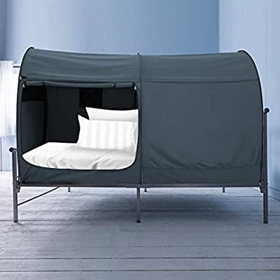Alvantor Bed Canopy Bed Tents dream Tents Privacy Space Twin Size Sleeping Tents Indoor Pop Up Portable Frame Curtains Breathable Grey Cottage (Mattress Not Included) Reducing Light from Alvantor