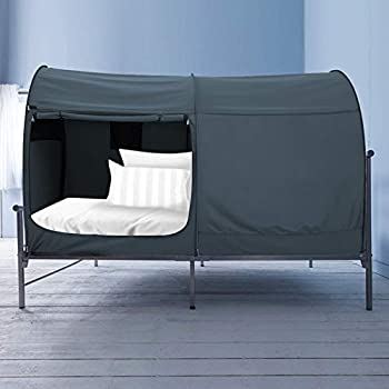 Alvantor Bed Canopy Bed Tents dream Tents Privacy Space Twin Size Sleeping Tents Indoor Pop Up Portable Frame Curtains Breathable Grey Cottage  Mattress Not Included  Reducing Light