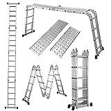 MOTOOS 19.5ft Multi-Purpose Extension Step Ladder Heavy Duty Aluminum Multi Purpose Folding Scaffold Ladder with Platform Plates Max Load 330lb