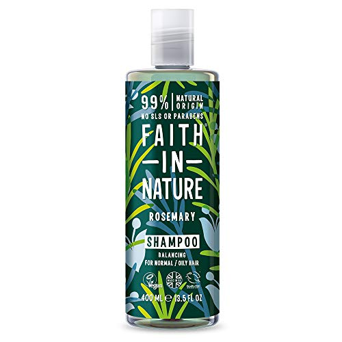 Faith in Nature Champú Natural de Romero, Equilibrante, Vegano y No Testado en Animales, sin Parabenos ni SLS, para Cabello de Normal a Graso, 400 ml