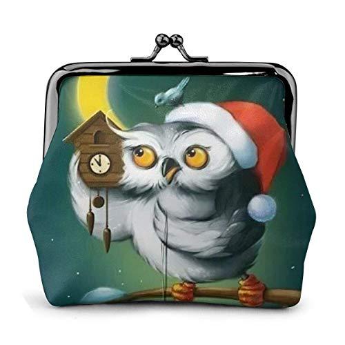 Navidad búho Arte Luna Noche Reloj Vintage Bolsa Chica Beso-candado Cambio Monedero Carteras Hebilla Cuero monederos Clave Mujer Impresa