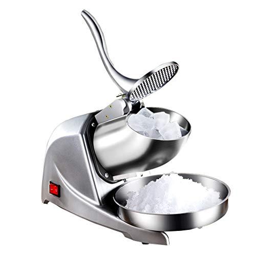 Eiscrusher Maschine Ice Crusher Elektrischer Eiszerkleinerer Edelstahlklingen Eiswürfelmaschine Crusher 95kg/Stunde für Private gewerbliche Restaurants Partys Snackständer Silber