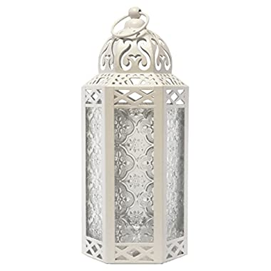 White Moroccan Style Candle Lantern - Great for Patio, Indoors/Outdoors, Events, Parties and Weddings