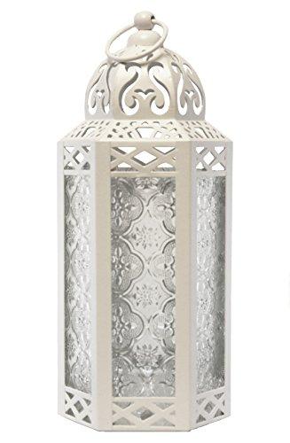 Vela Lanterns Moroccan Style Candle Lantern, Medium, Clear Glass, White