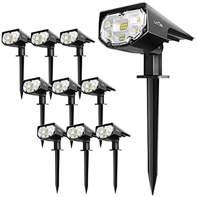 LITOM 12 LEDs Solar Landscape Spotlights,10 Pack,IP67 Waterproof,Solar Spot Lights Outdoor,2-in-1 Wireless Outdoor Solar Landscaping Lights for Yard Garden Driveway Porch Walkway Pool Patio Cold White
